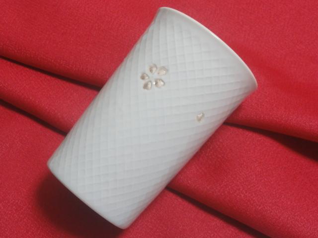しずく彫り「桜の里」青磁 透コップ